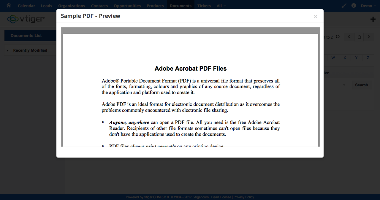 Vtiger Preview Document Screenshot 2